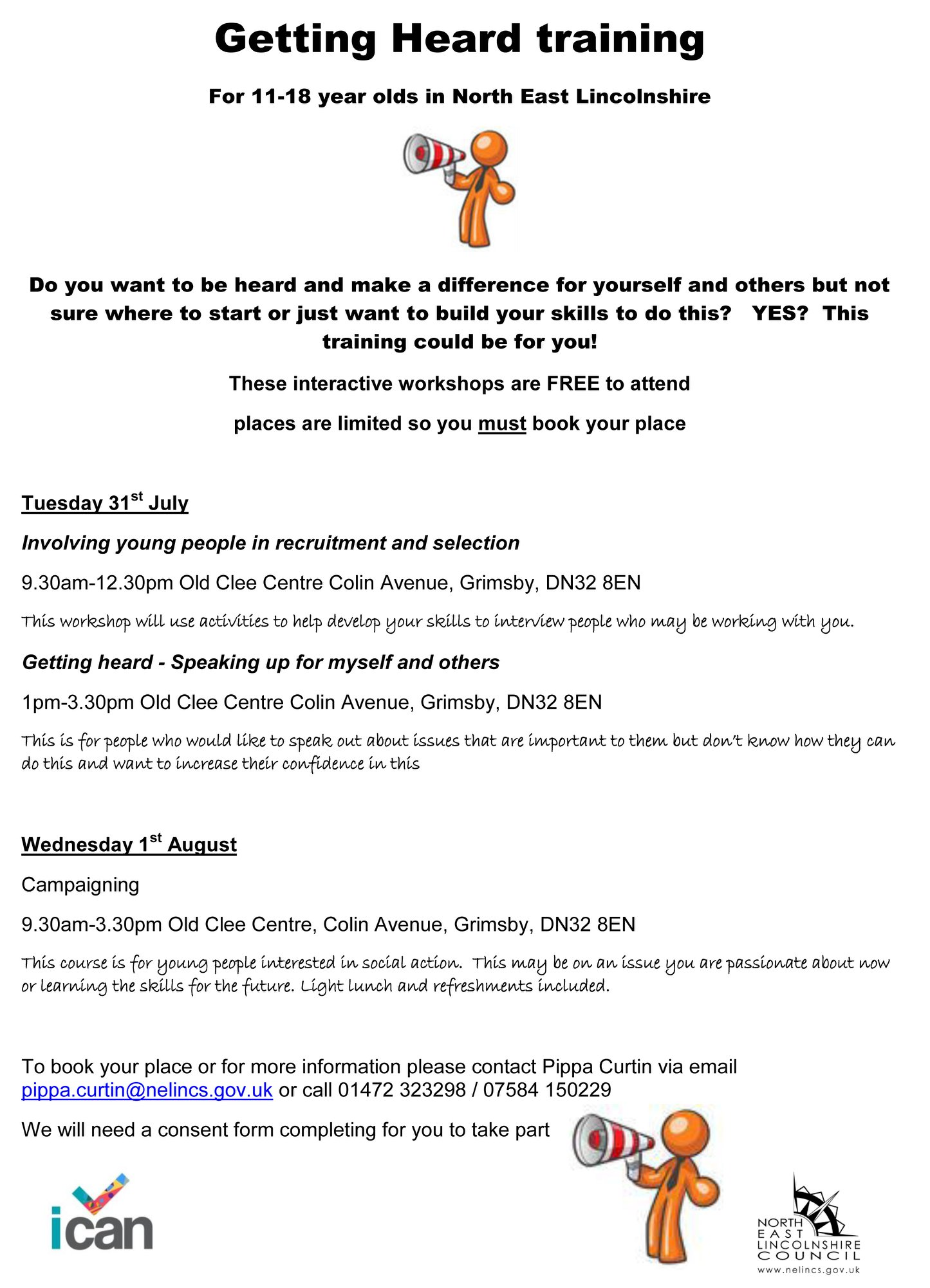 """Getting Heard"" training for 11-18 year olds @ Old Clee Centre Grimsby"