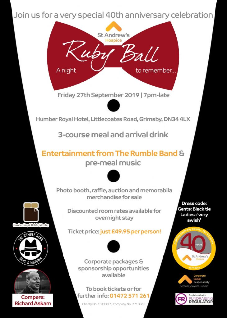St Andrews's Hospice Ruby Ball fundraiser @ Peaks Lane YMCA