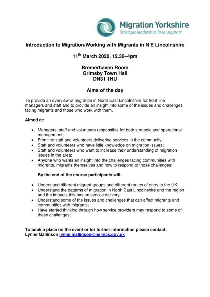 Introduction to Migration / Working with Migrants Training - 11 March 2020 @ Grimsby Town Hall